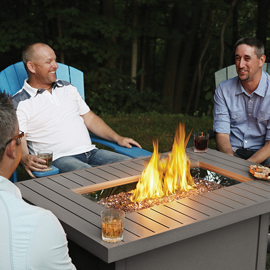 napoleon hamptons rectangle outdoor fire table