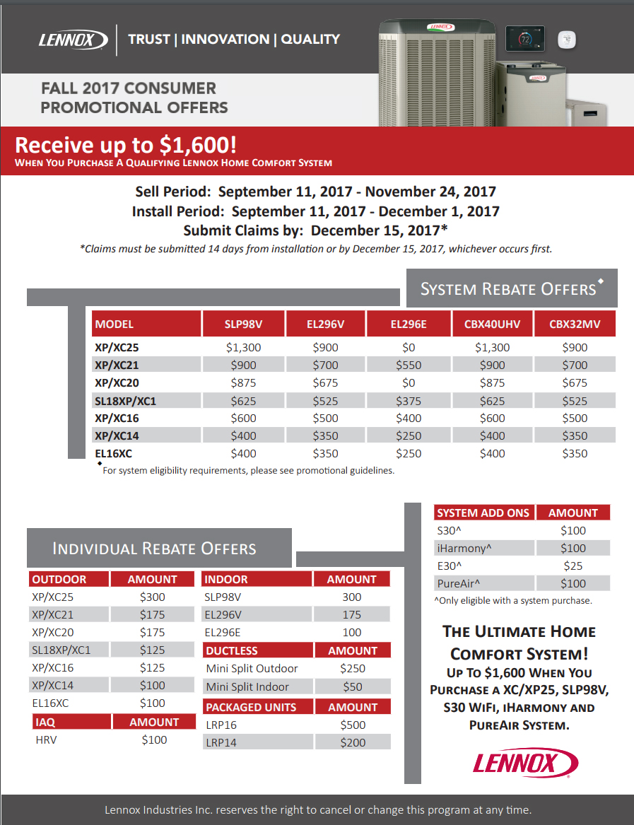 2017 Lennox Fall Rebates Furnaces Air Conditioning